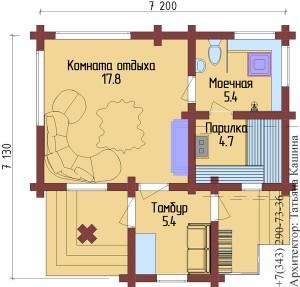 План бани 7 на 7 в Первоуральске