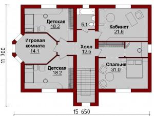 Планировка дома с гаражом на 2 авто. Второй этаж