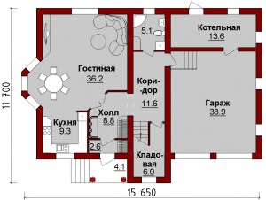 Планировка дома с гаражом на 2 авто. Первый этаж