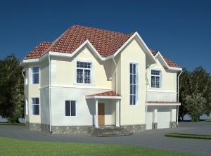 Проект дома в классическом стиле с гаражом на 2 авто