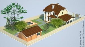 Проект дома с эркером и гаражом вид на участке