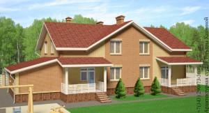 Проект дома на две семьи из блоков с гаражом А-278 (32 000 руб)