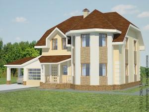 Проект дома с эркером и гаражом главный фасад