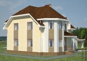 Проект дома с эркером и гаражом боковой фасад