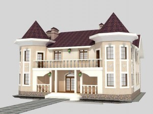 Проект дома на две семьи с башнями