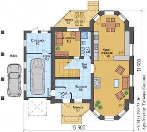 Планировка дома с эркером и гаражом 1 этаж