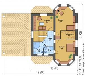 Планировка дома с эркером и гаражом 2 этаж