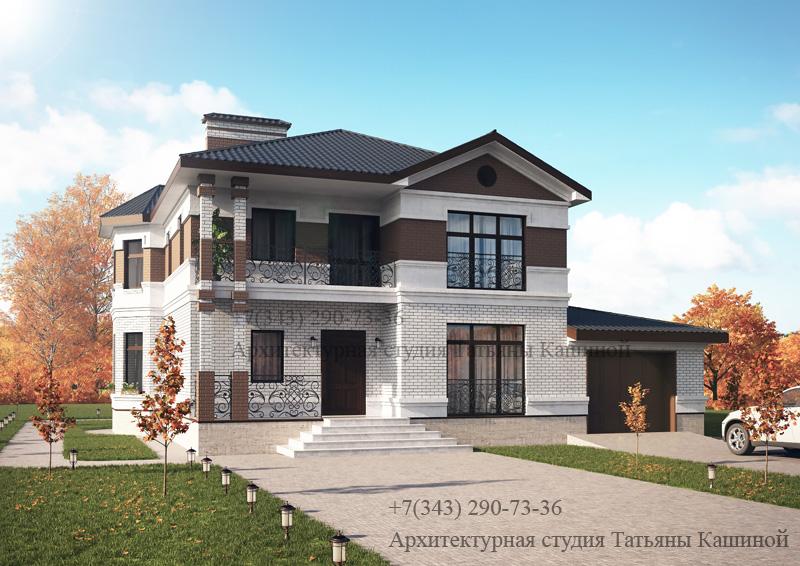 Готовый проект двухэтажного дома с гаражом М-189