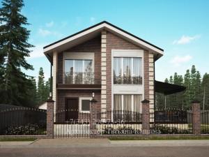 Проект дома двухэтажного дома с гаражом Д110