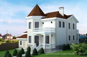 Проект дома с башней из керамзитобетонных блоков М-174