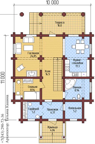 Проект дома из оцилиндрованного бревна. План первого этажа