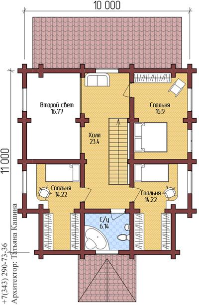 Проект дома из оцилиндрованного бревна. План второго этажа