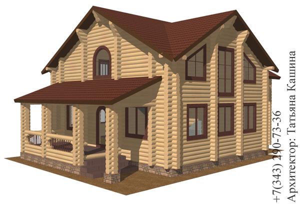 Проект дома из оцилиндрованного бревна. Терраса
