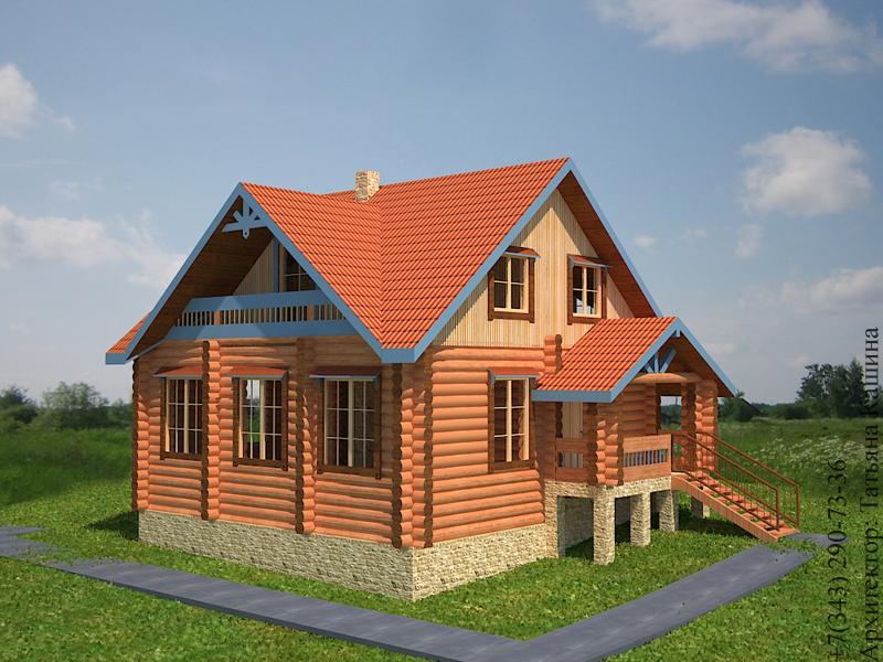 Проект дома из бревна на склоне