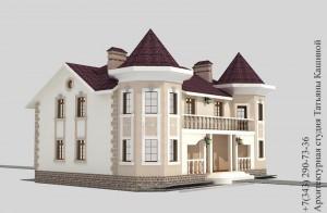Проект дома на две семьи с башнями в классическом стиле. Вид сбоку