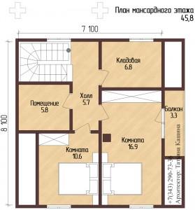 План дома на склоне из оцилиндрованного бревна с печью. План второго этажа
