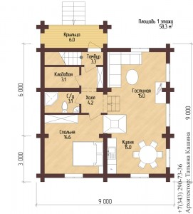 План дома на склоне из оцилиндрованного бревна с печью. План первого этажа