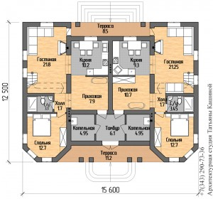 План первого этажа на две семьи с башнями в классическом стиле