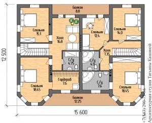 План второго этажа на две семьи с башнями в классическом стиле