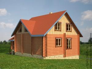 План дома на склоне из оцилиндрованного бревна с печью. боковой фасад