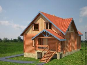 План дома на склоне из оцилиндрованного бревна с печью. Крыльцо
