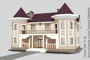 Проект дома на две семьи с башнями в классическом стиле