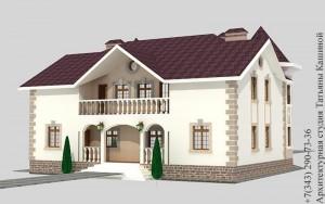 Проект дома на две семьи с башнями в классическом стиле. Вид на террасу