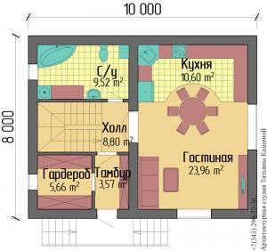 Планировка дома из несъемной опалубки 8 на 10. План первого этажа