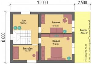 Планировка дома из несъемной опалубки 8 на 10. План второго этажа
