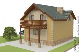 Проект дома из несъемной опалубки 8 на 10 боковой фасад