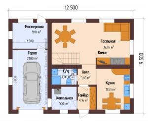 Планировка 1 этажа дома из пеноблоков с гаражом 12,5 на 9,5