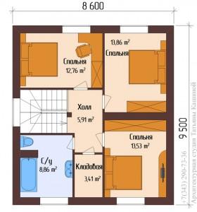 Планировка 1 этажа дома из пеноблоков с гаражом 12,5 на 9,52