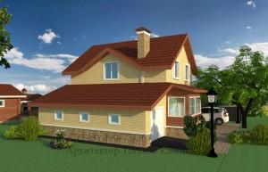 Проект двухэтажного дома И-155 с облицовочным кирпичом. Гараж