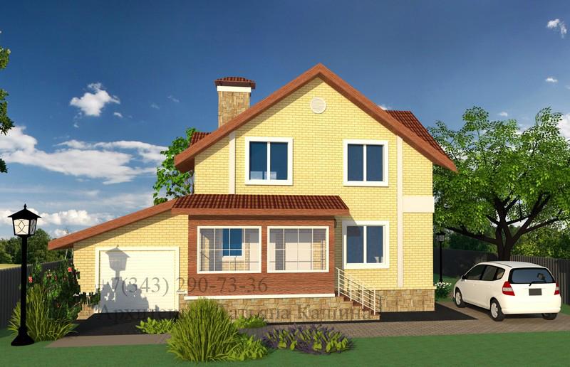 Проект дома из пеноблоков с гаражом 12,5 на 9,5