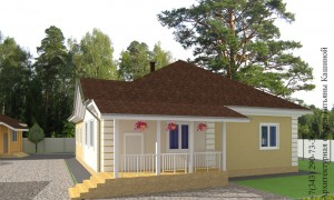Проект одноэтажного дома С-155 главный фасад