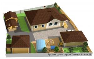 Проект одноэтажного дома С-155 вид на участке