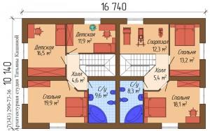 Проект таунхауса. План второго этажа