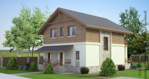 Проект дома 10 на 10 М142 боковой фасад