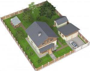 Проект дома 10 на 10 М142 вид на участке