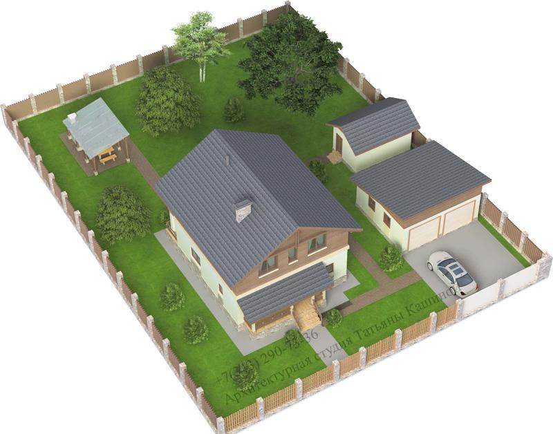 Квадратный дом из газоблоков М142