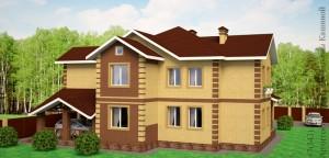 Проект двухквартирного дома с облицовочным кирпичом. Боковой фасад