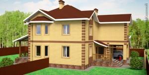 Проект двухквартирного дома с облицовочным кирпичом. Боковой фасад 2