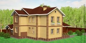 Проект двухквартирного дома с облицовочным кирпичом. Вид со двора