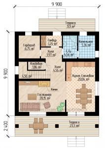 Планировка двухэтажного квадратного дома 10 на 10