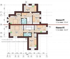 Планировка двухквартирного дома. Первый этаж