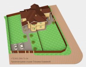 Проект двухквартирного дома с облицовочным кирпичом. Вид на участке
