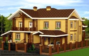 Проект дома на 2 семьи  на два входа с неравными частями