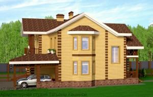 Проект дома на 2 семьи из газоблоков. Вид на эркер
