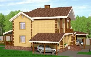 Проект дома на 2 семьи из газоблоков. Боковой фасад