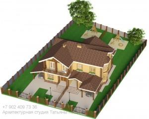 Проект дома на 2 семьи из газоблоков. Вид сверху